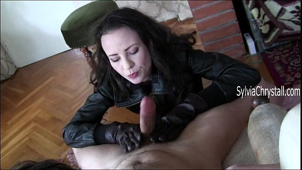 Slow Blowjob and Cum Eating in Leather Gloves and Coat