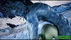 Night King Monster fucks Princess. Hentai 3D